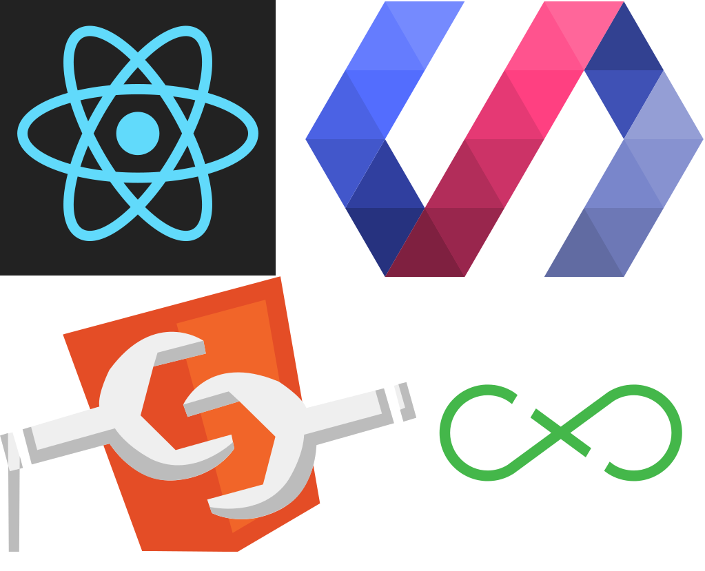 Logos — React, Flux, Polymer, Web Components